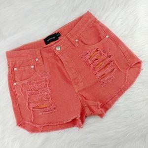 MINKPINK | hi-rise slasher jean shorts, button fly